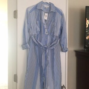 Maternity button-up striped dress- S